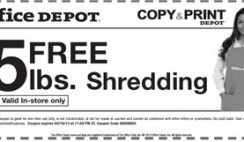 Free 5 Lbs. Shredding from Office Depot Coupon