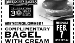Free Bruegger's Bagels' Bagel with Cream Cheese