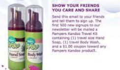 Free Pampers Kandoo Travel Kit Sample