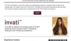 Free Invati Exfoliating Shampoo and Thickening Conditioner Sample