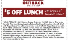 Outback Steakhouse $5 Off Coupon