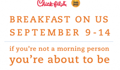 Free Chick-Fil-A Breakfast on Sept. 9-14