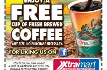 Free Cup of Coffee on August 11 and 25