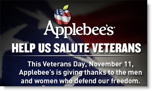 Free Meal for Veterans from Applebee's