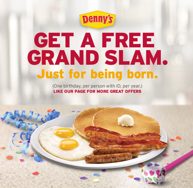 Free Original Grand Slam on Your Birthday from Denny's