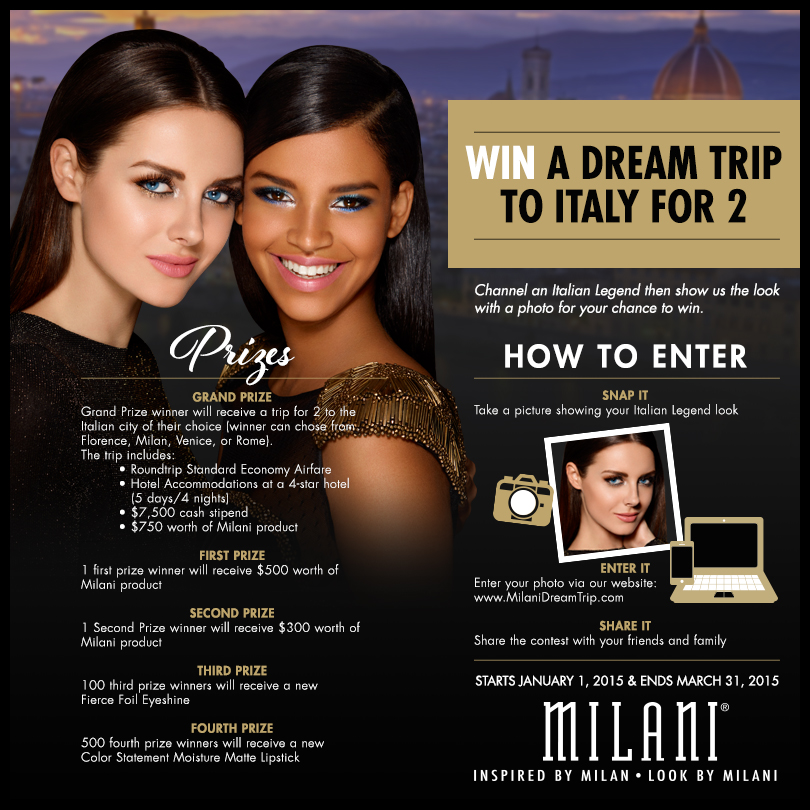 Milani Cosmetics' Win a Dream Trip to Italy Photo Contest and Sweepstakes