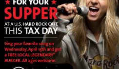 Free Burger from Hard Rock Café on Tax Day