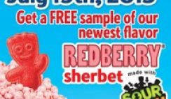 Free Redberry Sherbet Sample from Dippin' Dots