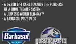 Barbasol's Jurassic World Ultimate Home Theater System Sweepstakes