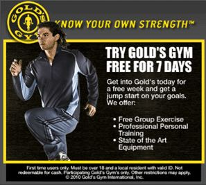 Free 7-day Gold's Gym Pass