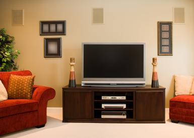 Widescreen Television in Family Room