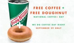 Free Coffee & Doughnut from Krispy Kreme on Sept. 29
