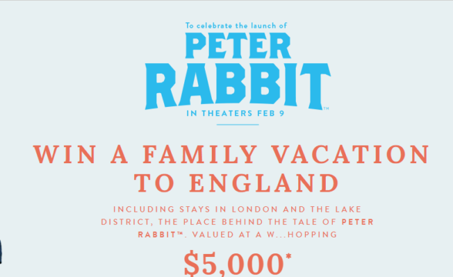 Joules' Peter Rabbit Sweepstakes