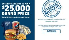 Culver's and Pepsi's Butterburger Believe It Sweepstakes
