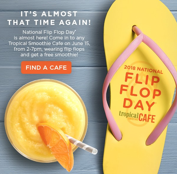 Tropical Smoothie Cafe's National Flip Flop Day Freebie
