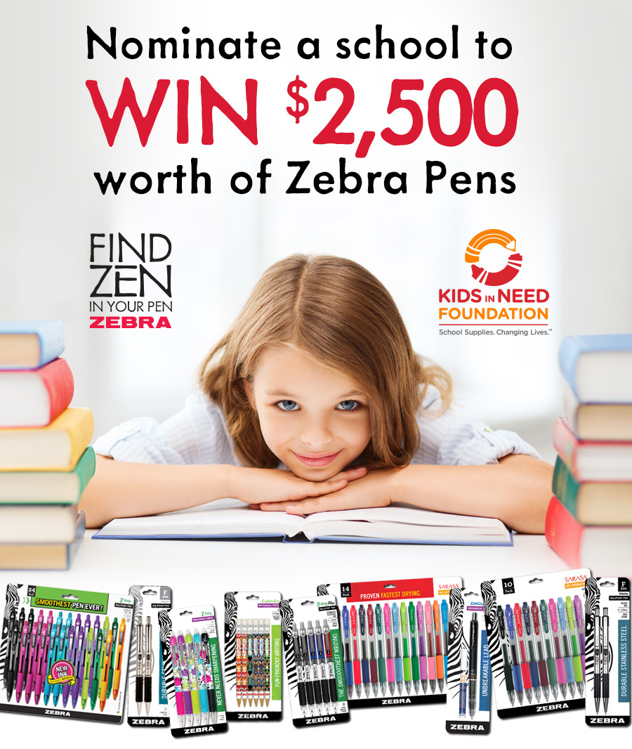Zebra Pen's Nominate a School in Need Sweepstakes