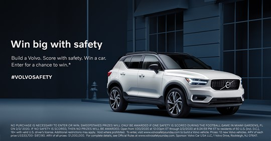 Win 1 of 12 Volvos if Safety is Scored During the Game - ends 2/2
