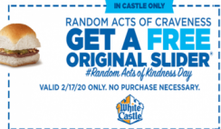 FREE Original Slider at White Castle on 2/17 - Today!