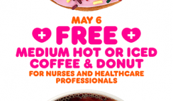 FREE Coffee and Donut for Healthcare Workers at Dunkin' Donuts Today May 6th