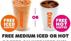 FREE Dunkin' Donuts Medium Iced or Hot Coffee on Wednesday for DD Perks Members (Select States)