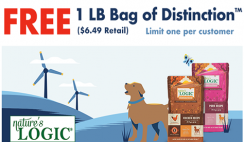 FREE Bag of Nature's Logic Distinction Dog Food