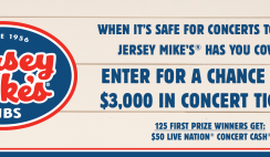 Win a Year of Concerts From Jersey Mikes - 126 Winners - Enter Daily - ends 10/2