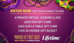 Win a NOLA Night In with $840 in Prizes - $200 Visa Gift Card, $300 Sur La Table Gift Card,Café Du Monde Gift Basket & More - Daily Entry - ends 9/30