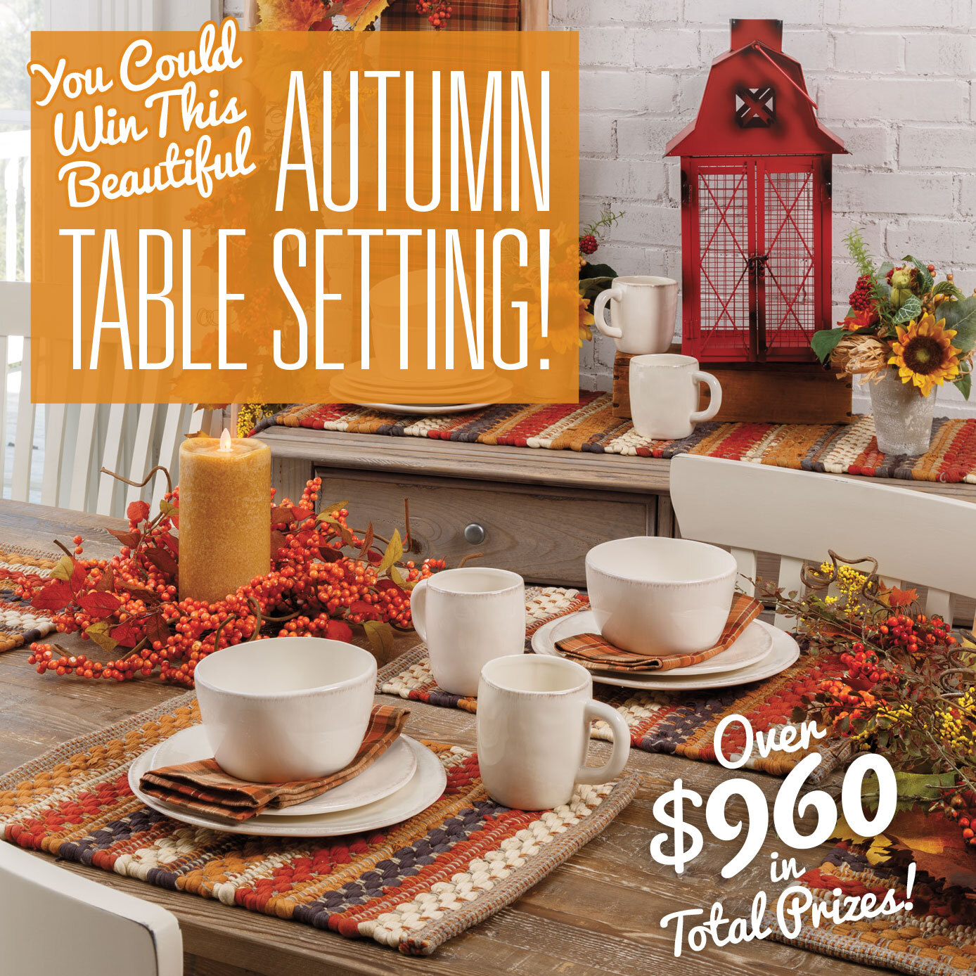Autumn Table Setting Giveaway Ends 9 21 Freebies Frenzy