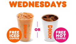 FREE Med Hot/Iced Coffee at Dunkin' on Wednesdays