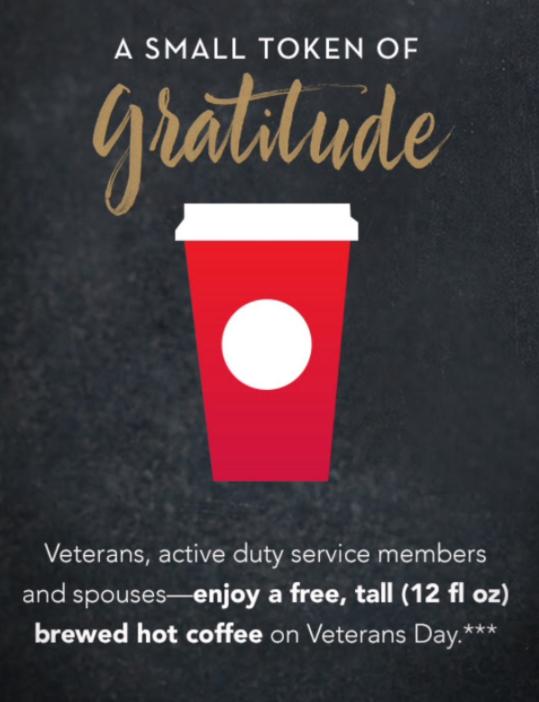 starbucks on veteran's day