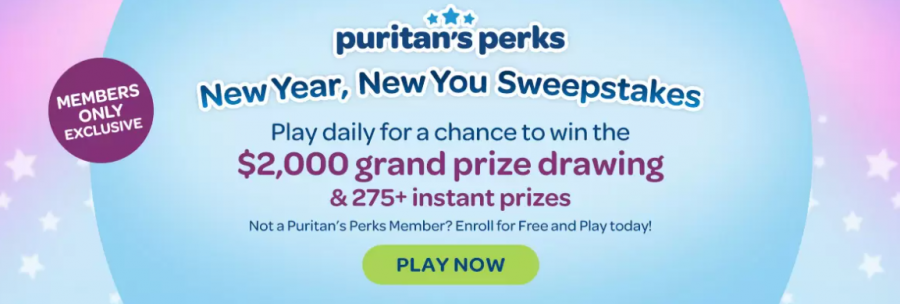Puritans Pride New Year New You Instant Win Game