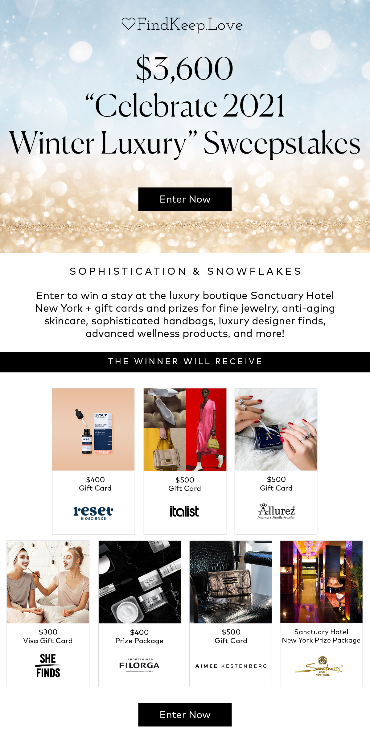 2021 Sophistication and Snowflakes Winter Luxury Sweeps