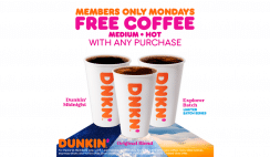 FREE Coffee At Dunkin On Mondays In February