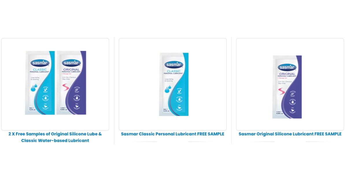 FREE Sasmar Personal Lubricant Samples