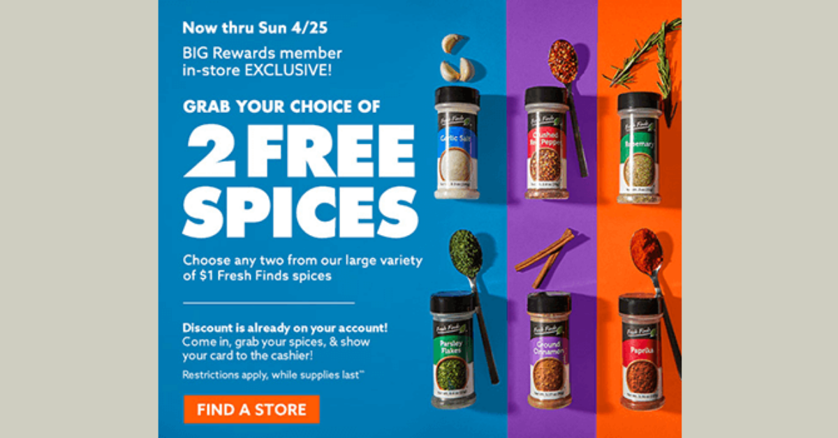2 FREE Fresh Find Spices At Big Lots