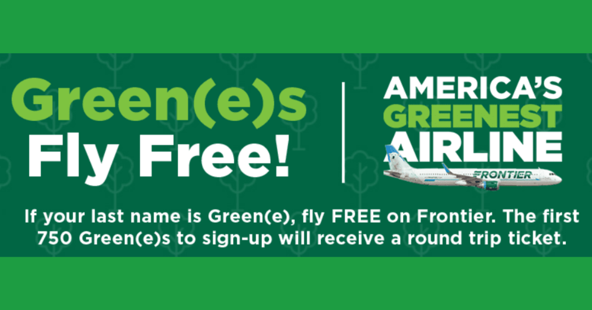 FREE Frontier Flight If Your Name is Green or Greene