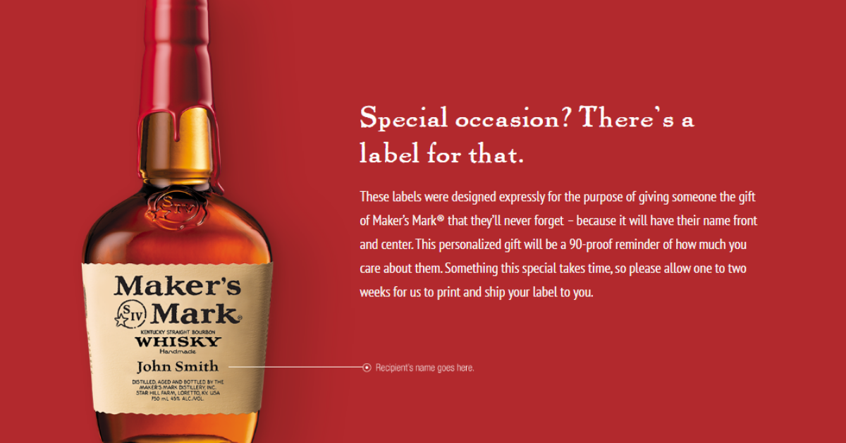 FREE Makers Mark Personalized Bottle Labels