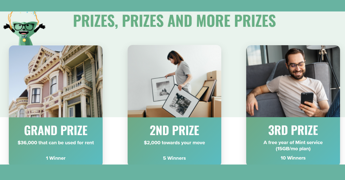 The Mint Mobile and Zumper Your Fresh Start Win A Free Year of Rent Sweepstakes